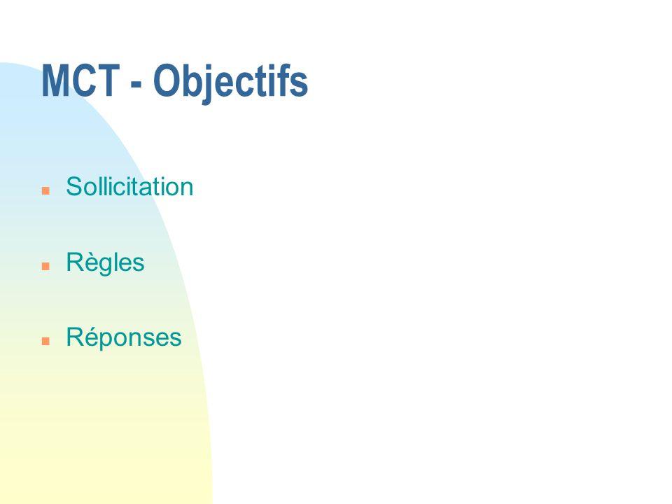 27/03/2017 MCT - Objectifs Sollicitation Règles Réponses