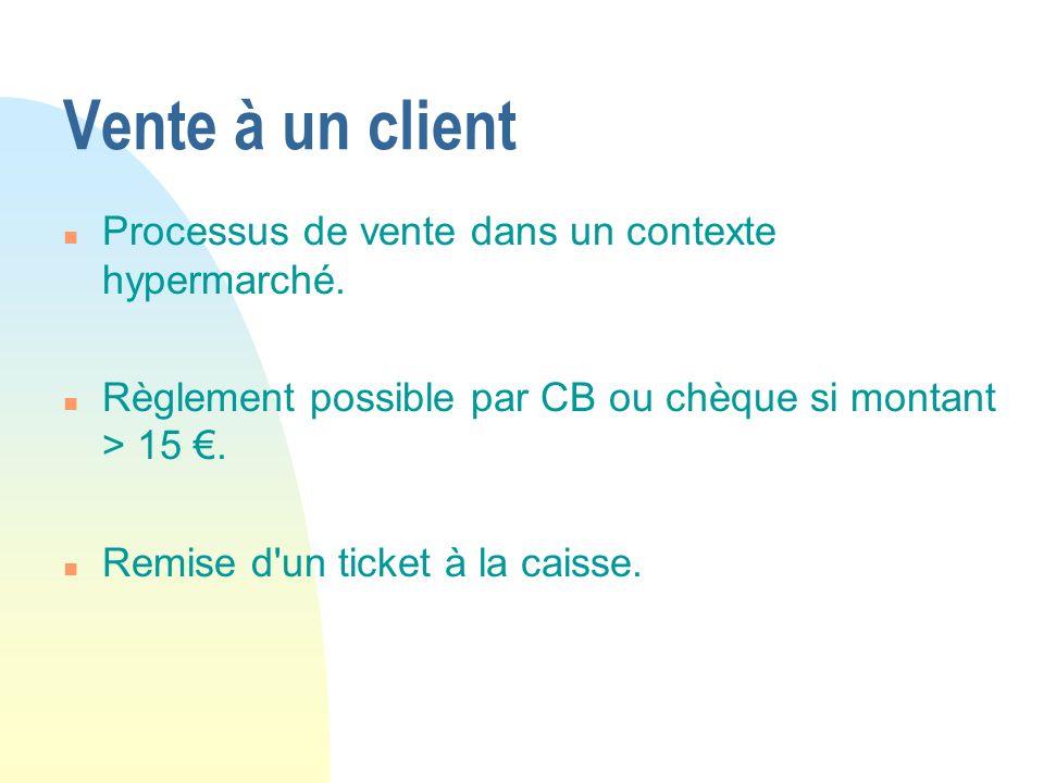 Vente à un client Processus de vente dans un contexte hypermarché.