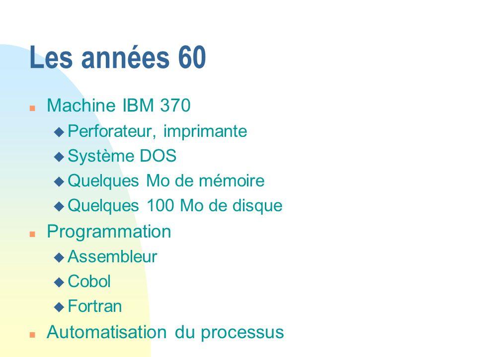 Les années 60 Machine IBM 370 Programmation