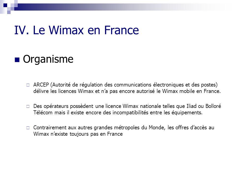 IV. Le Wimax en France Organisme