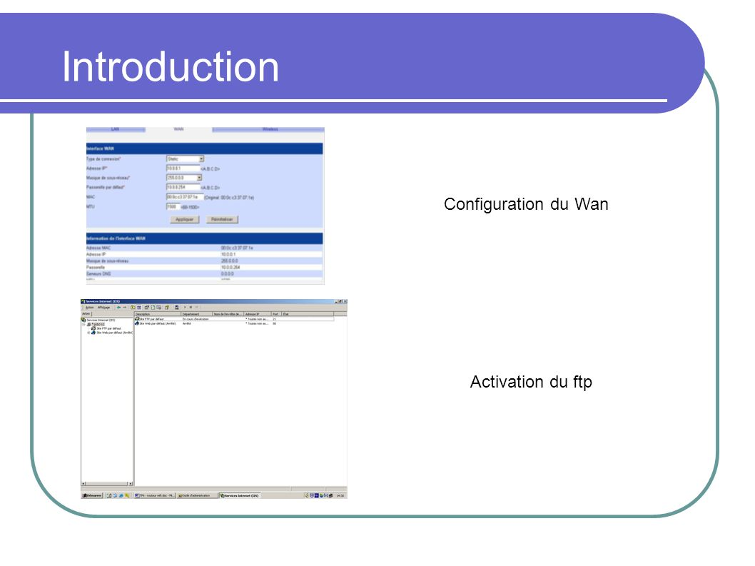 Introduction Configuration du Wan Activation du ftp
