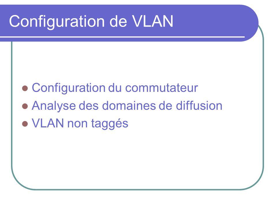 Configuration de VLAN Configuration du commutateur