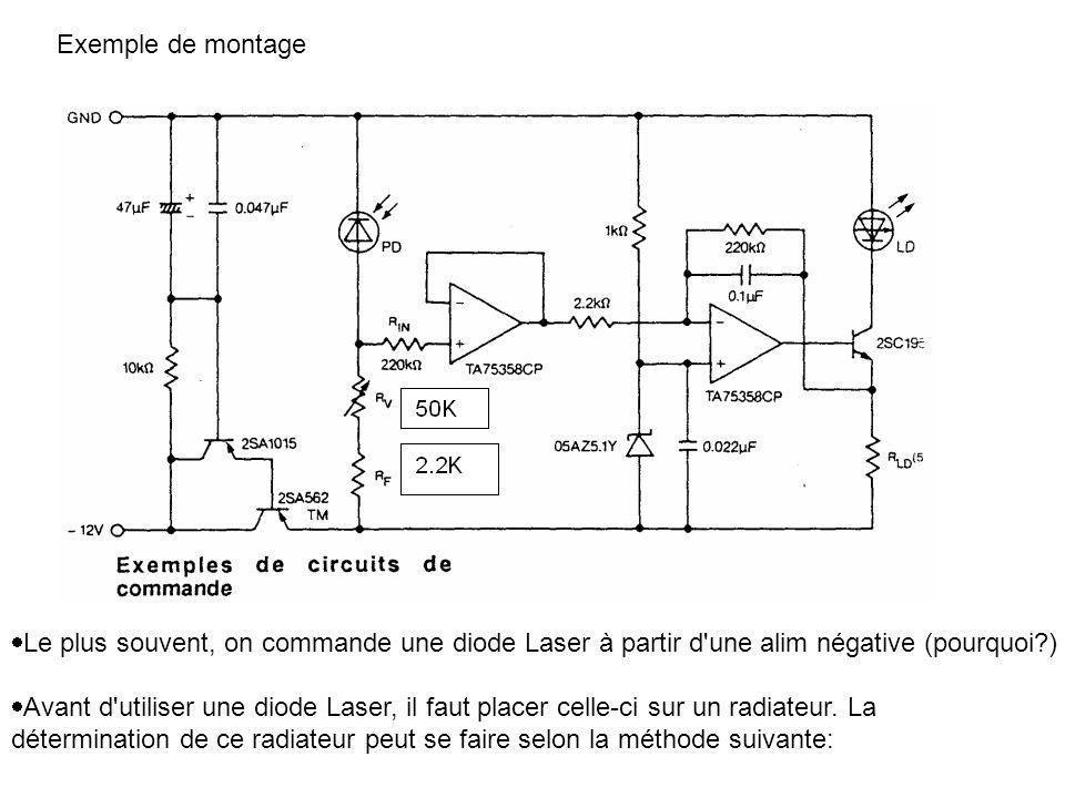 Exemple de montage Le plus souvent, on commande une diode Laser à partir d une alim négative (pourquoi )