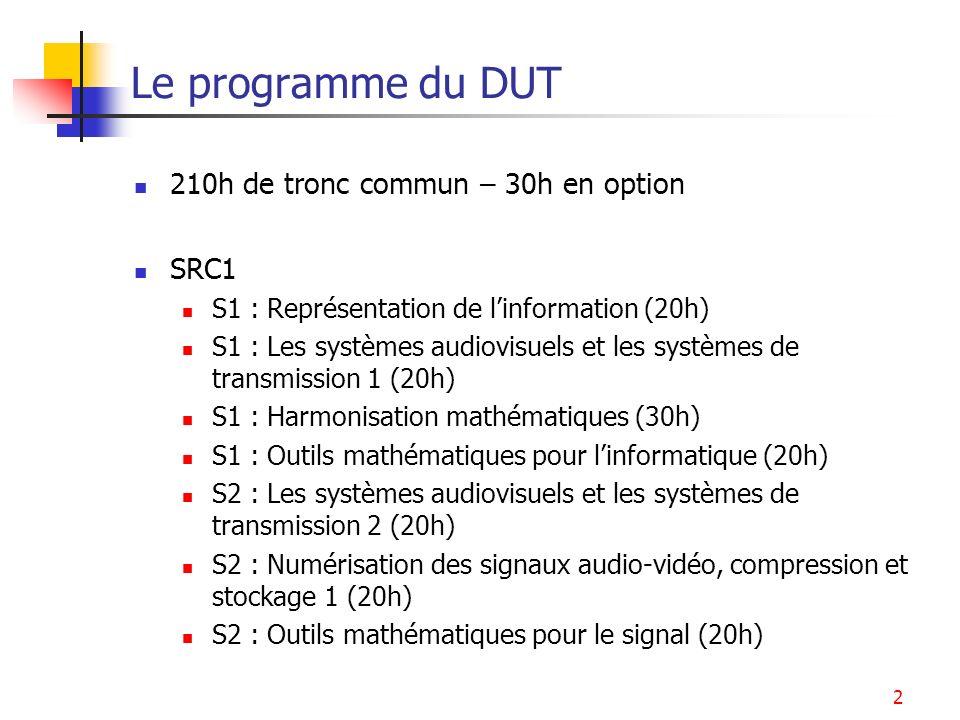 Le programme du DUT 210h de tronc commun – 30h en option SRC1