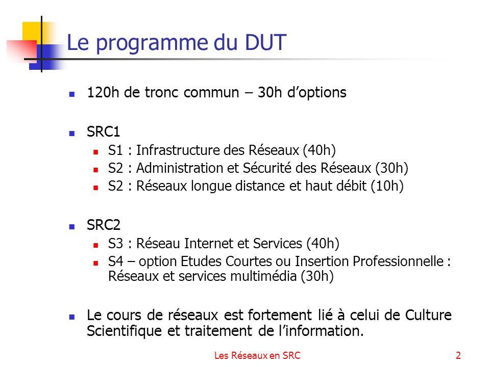 Le programme du DUT 120h de tronc commun – 30h d'options SRC1 SRC2