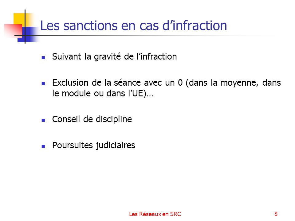 Les sanctions en cas d'infraction