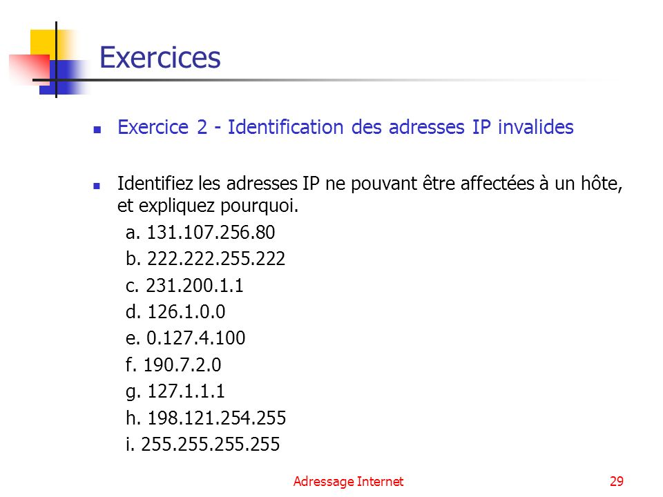 Exercices Exercice 2 - Identification des adresses IP invalides