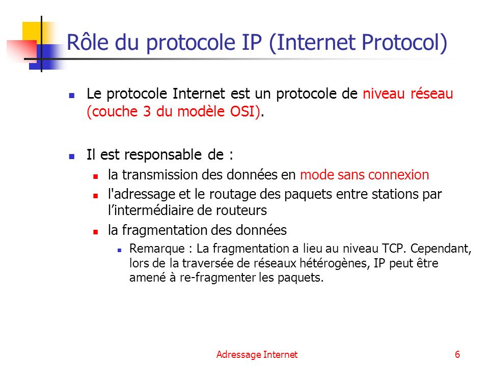 Rôle du protocole IP (Internet Protocol)