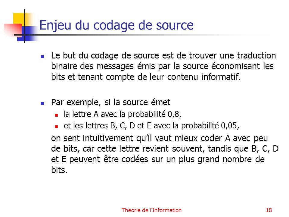 Enjeu du codage de source
