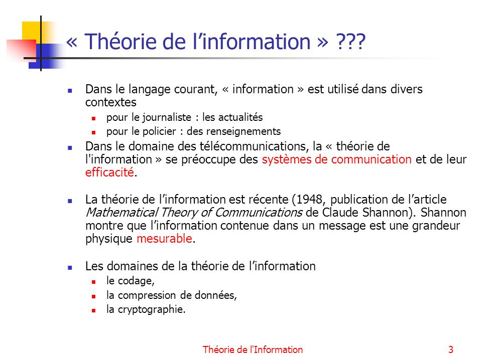 « Théorie de l'information »