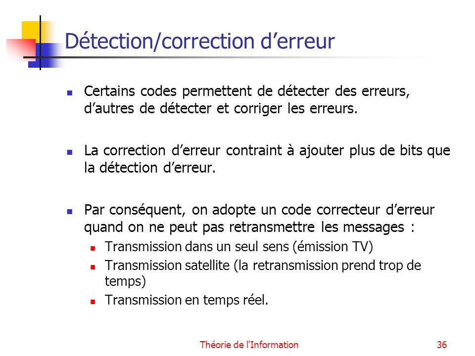 Détection/correction d'erreur