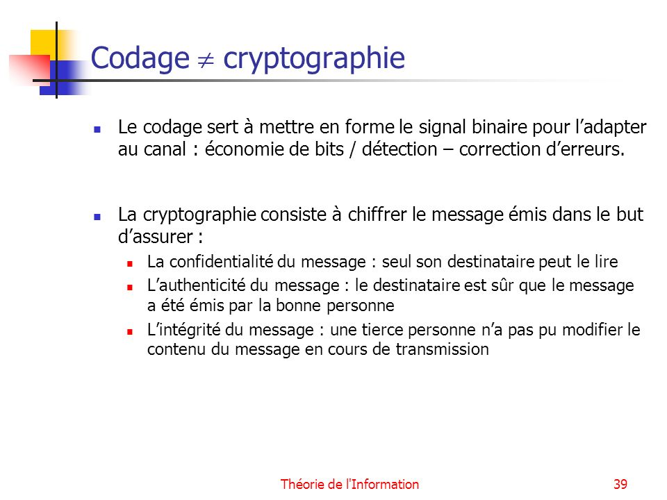 Codage  cryptographie