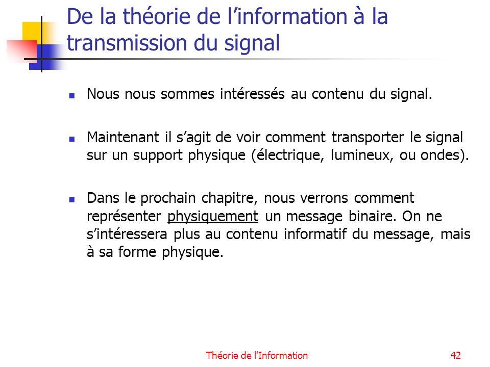 De la théorie de l'information à la transmission du signal
