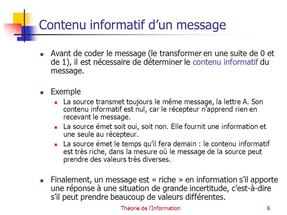 Contenu informatif d'un message
