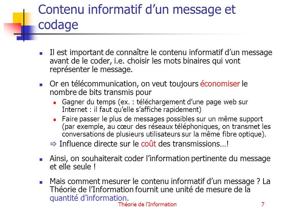 Contenu informatif d'un message et codage