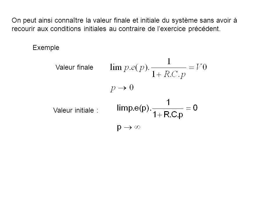 On peut ainsi connaître la valeur finale et initiale du système sans avoir à recourir aux conditions initiales au contraire de l'exercice précédent.