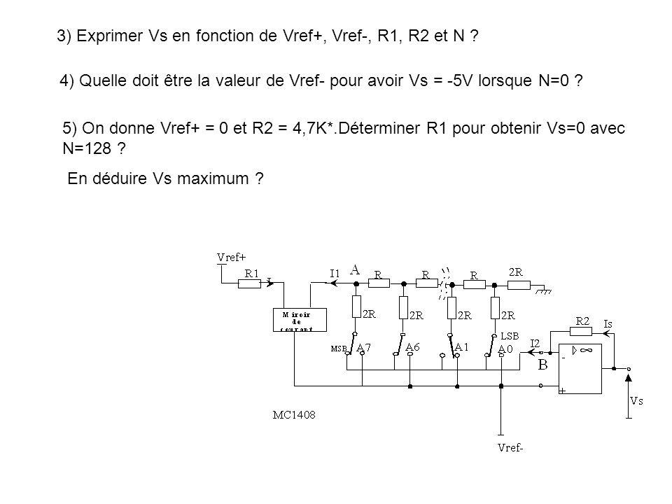 3) Exprimer Vs en fonction de Vref+, Vref-, R1, R2 et N