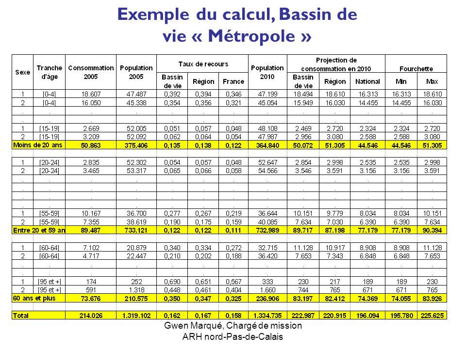 Exemple du calcul, Bassin de vie « Métropole »