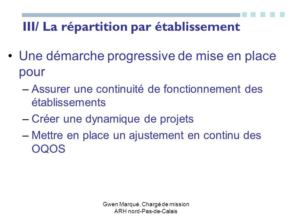 III/ La répartition par établissement
