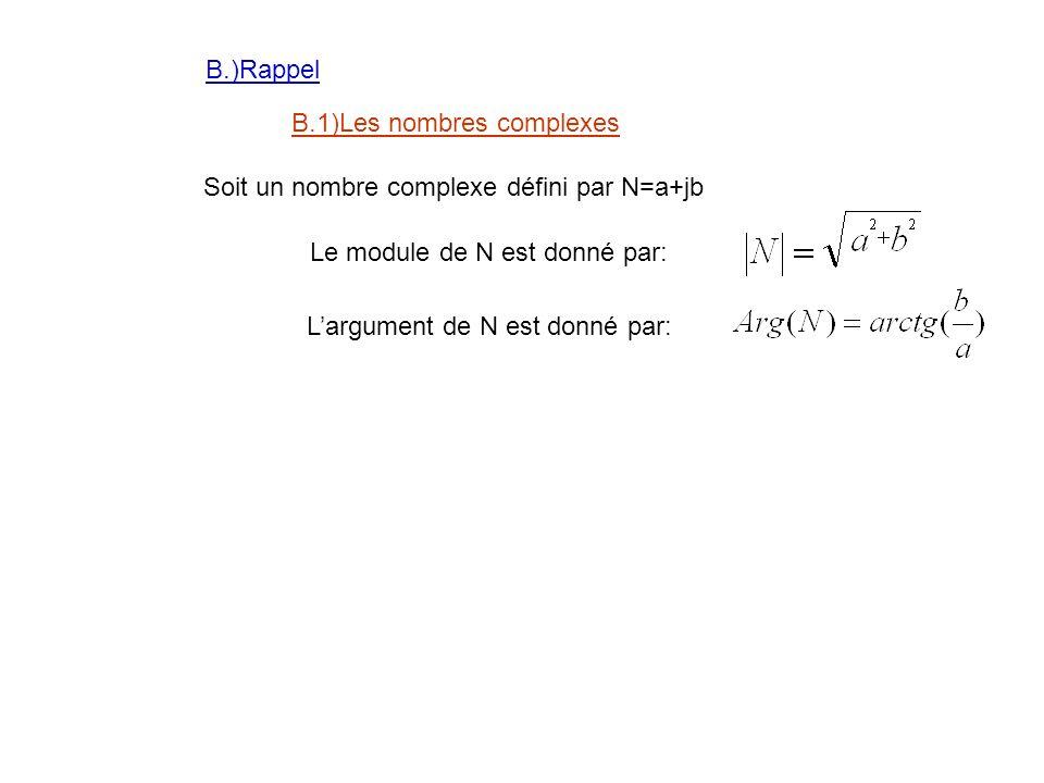 B.)Rappel B.1)Les nombres complexes. Soit un nombre complexe défini par N=a+jb. Le module de N est donné par: