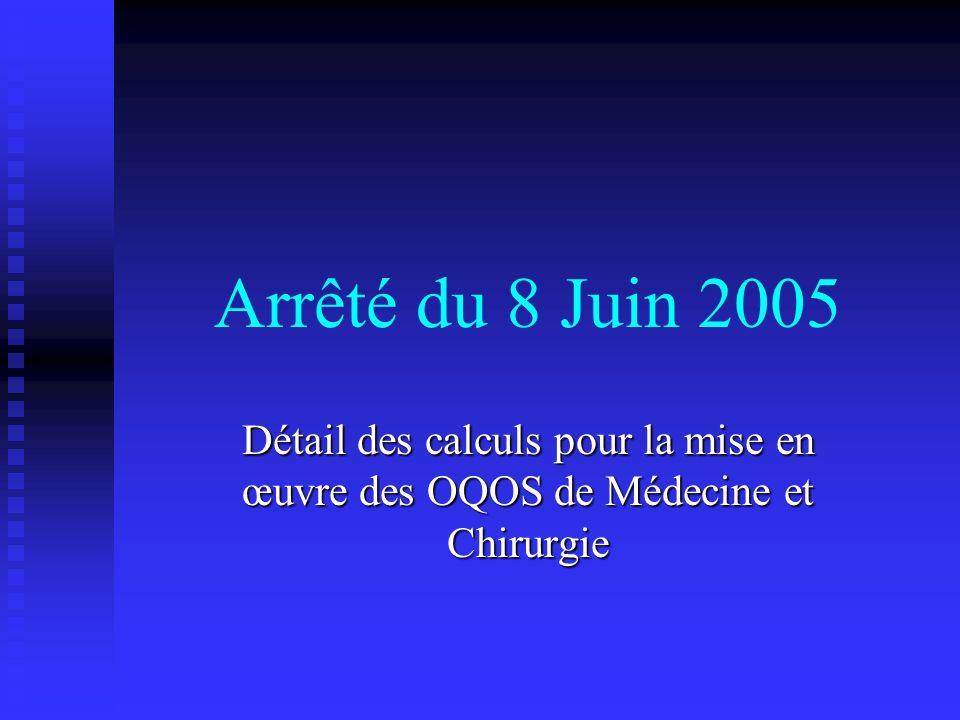 Arrêté du 8 Juin 2005 Détail des calculs pour la mise en œuvre des OQOS de Médecine et Chirurgie