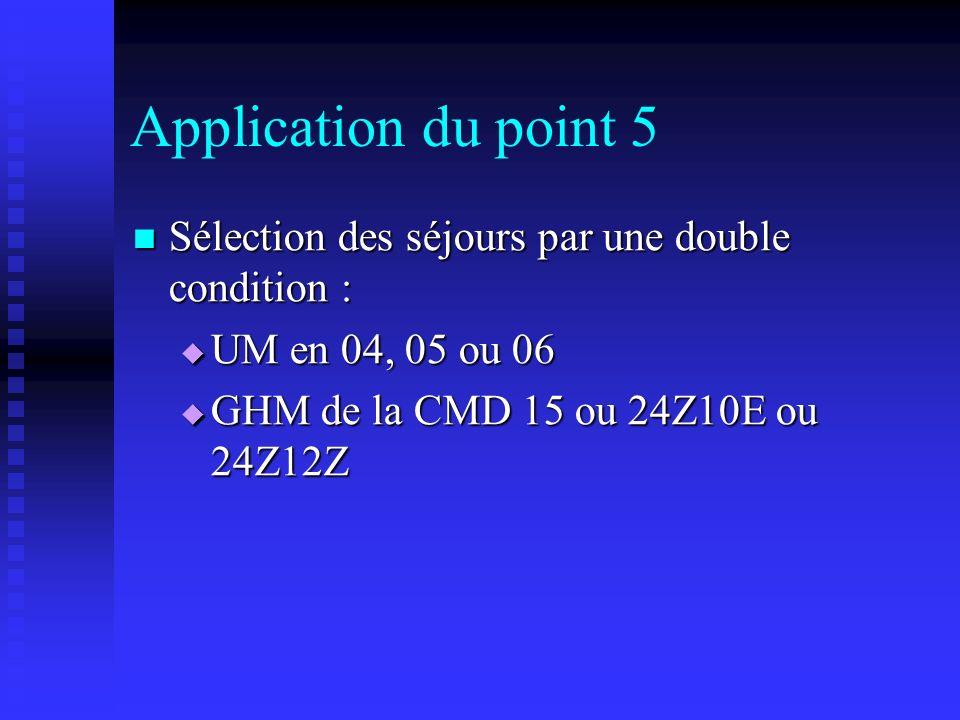 Application du point 5Sélection des séjours par une double condition : UM en 04, 05 ou 06.