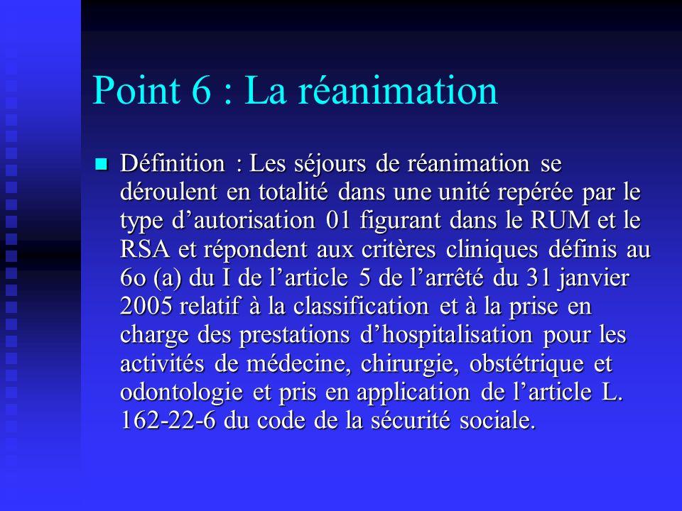 Point 6 : La réanimation