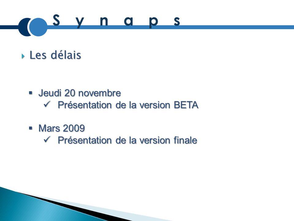 Les délais Jeudi 20 novembre Présentation de la version BETA Mars 2009