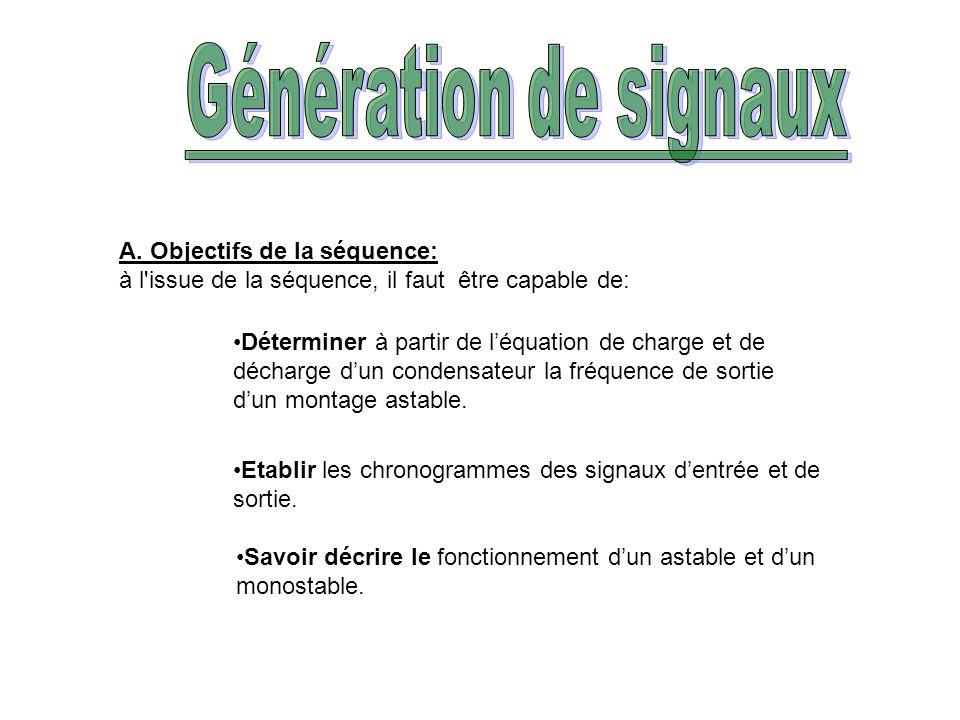Génération de signaux A. Objectifs de la séquence: