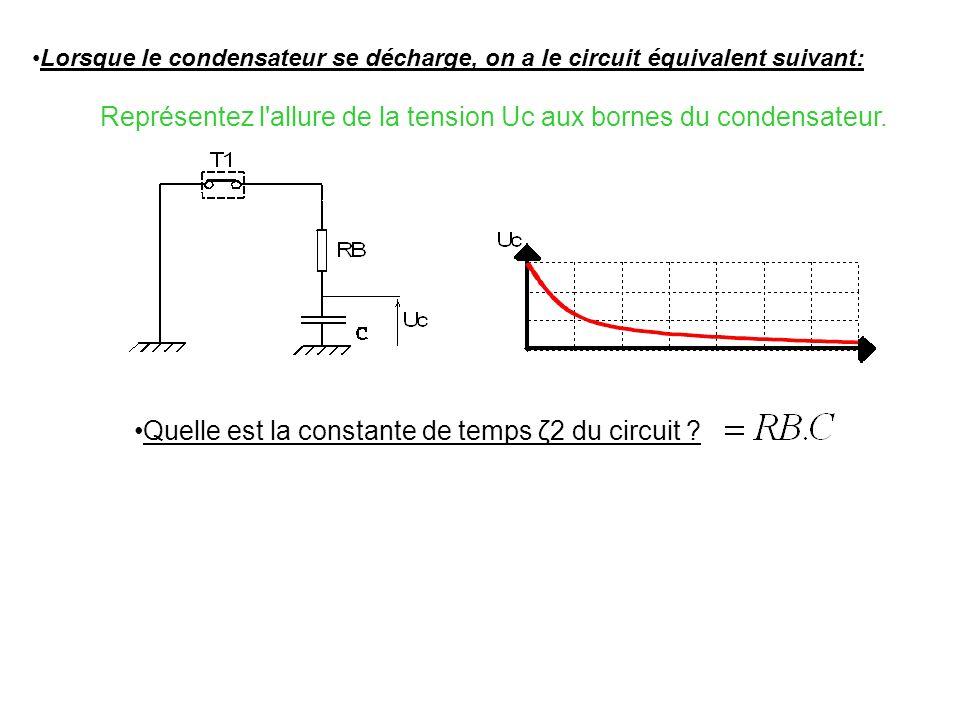 Représentez l allure de la tension Uc aux bornes du condensateur.