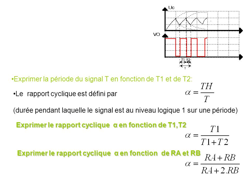 Exprimer la période du signal T en fonction de T1 et de T2:
