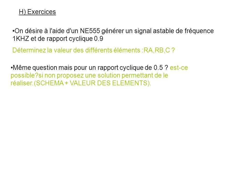 H) Exercices On désire à l aide d un NE555 générer un signal astable de fréquence 1KHZ et de rapport cyclique 0.9.