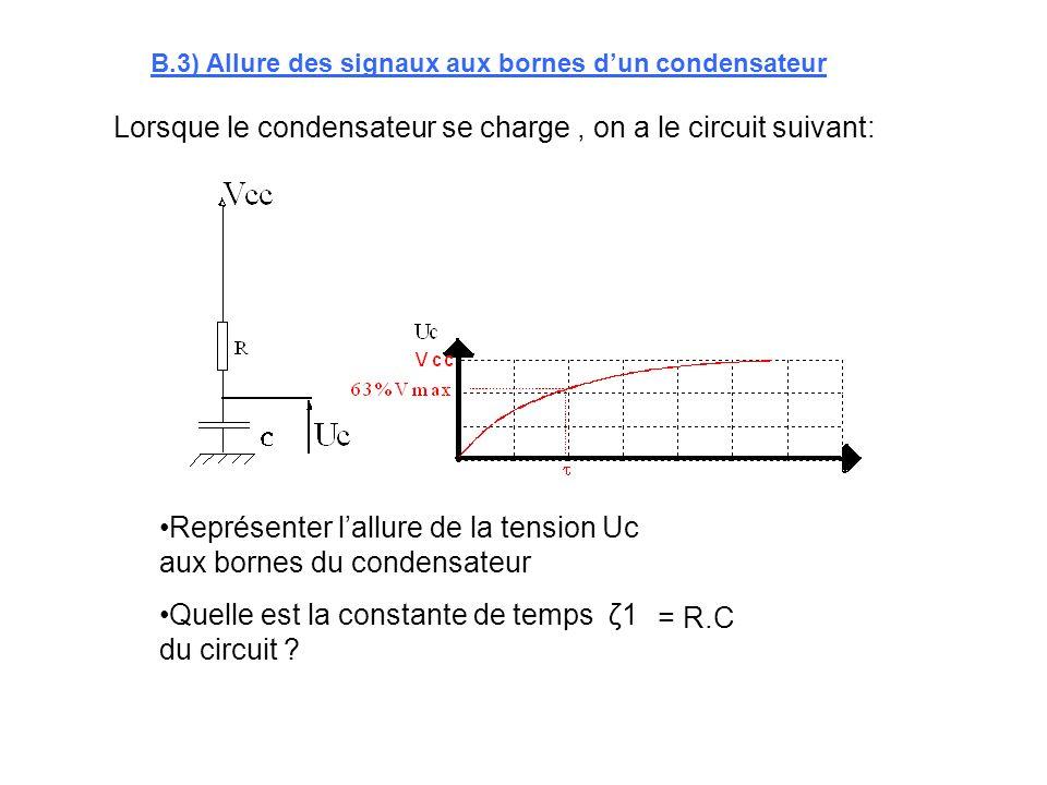 Lorsque le condensateur se charge , on a le circuit suivant: