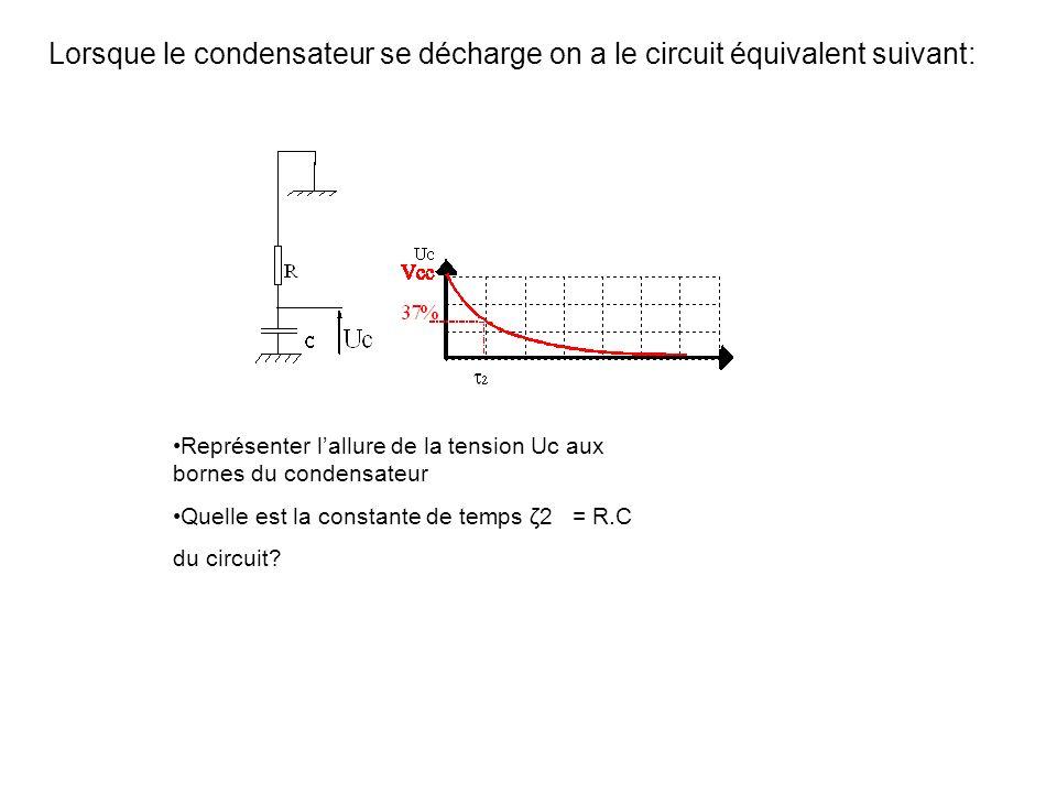 Lorsque le condensateur se décharge on a le circuit équivalent suivant: