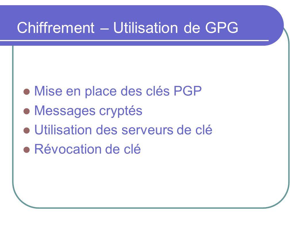 Chiffrement – Utilisation de GPG