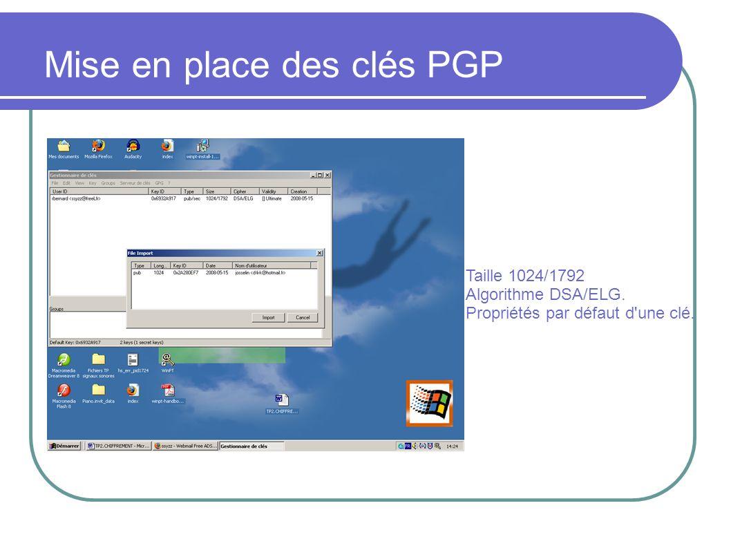 Mise en place des clés PGP
