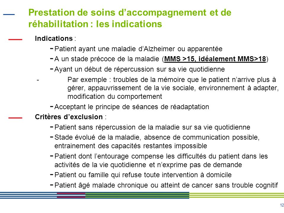 Prestation de soins d'accompagnement et de réhabilitation : les indications