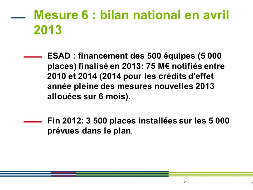 Mesure 6 : bilan national en avril 2013