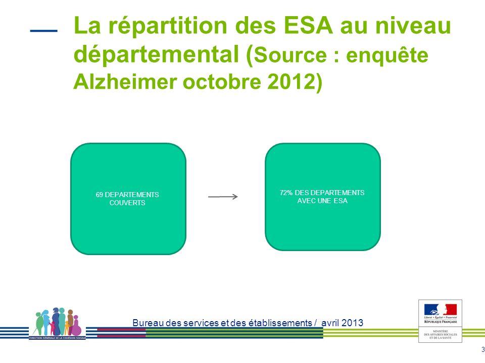 La répartition des ESA au niveau départemental (Source : enquête Alzheimer octobre 2012)