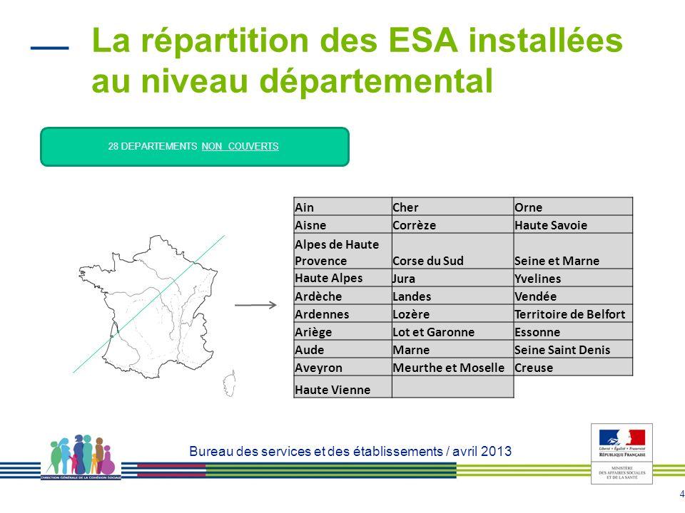 La répartition des ESA installées au niveau départemental