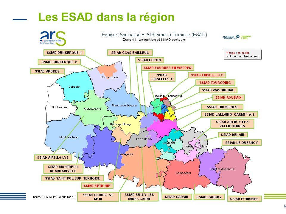 Les ESAD dans la région