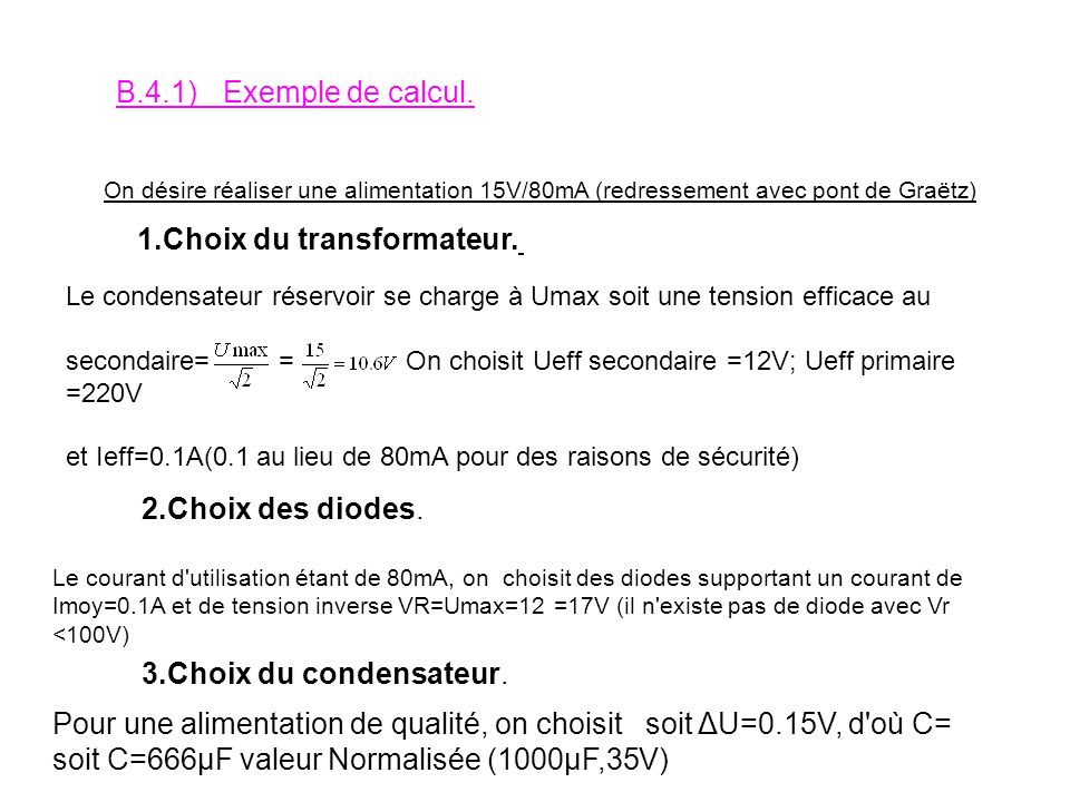 1.Choix du transformateur.