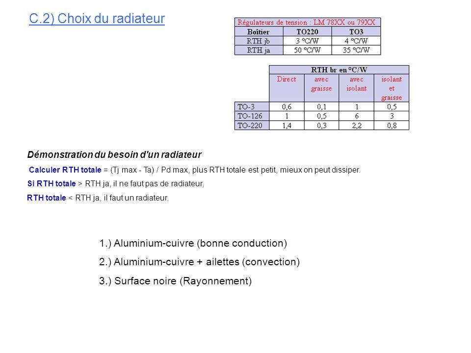 C.2) Choix du radiateur 1.) Aluminium-cuivre (bonne conduction)