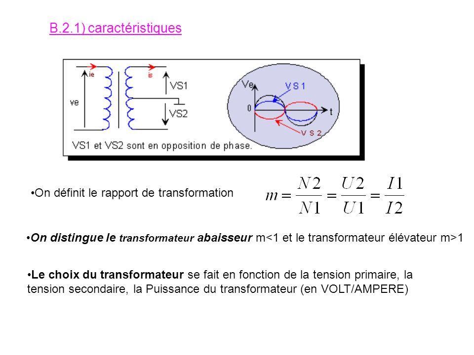 B.2.1) caractéristiques On définit le rapport de transformation