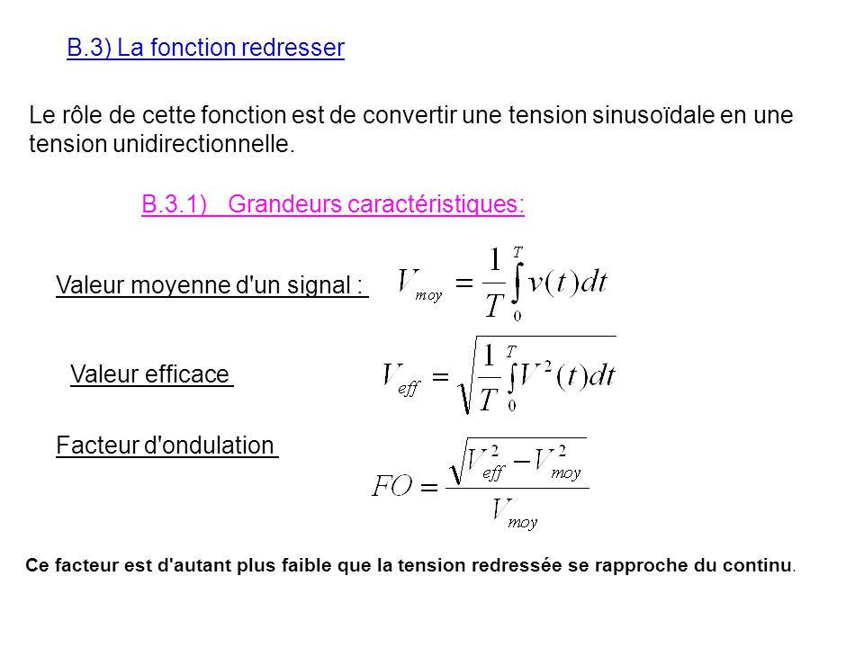 B.3) La fonction redresser