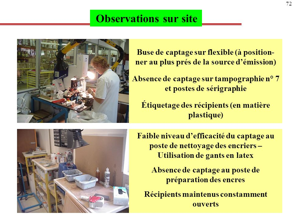 Observations sur site Buse de captage sur flexible (à position- ner au plus prés de la source d'émission)