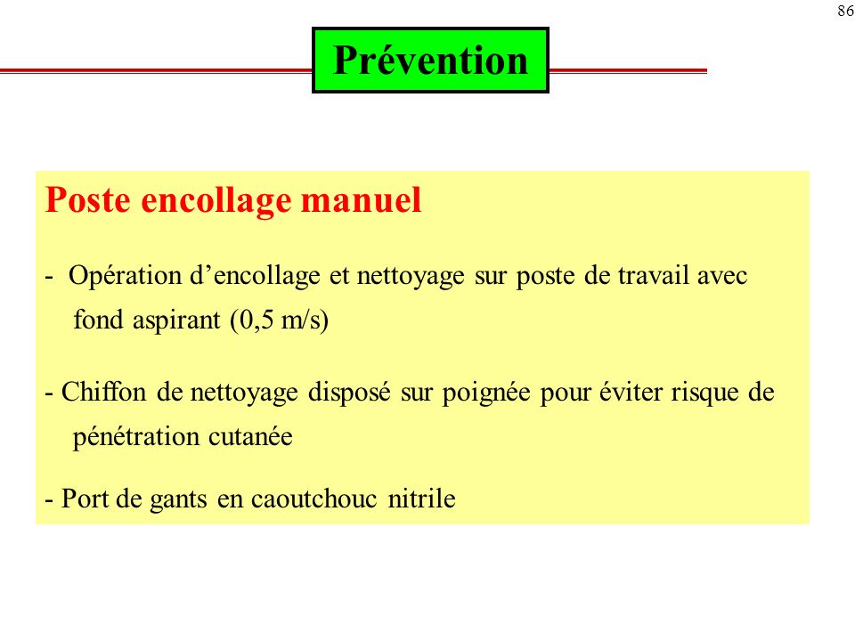 Prévention Poste encollage manuel
