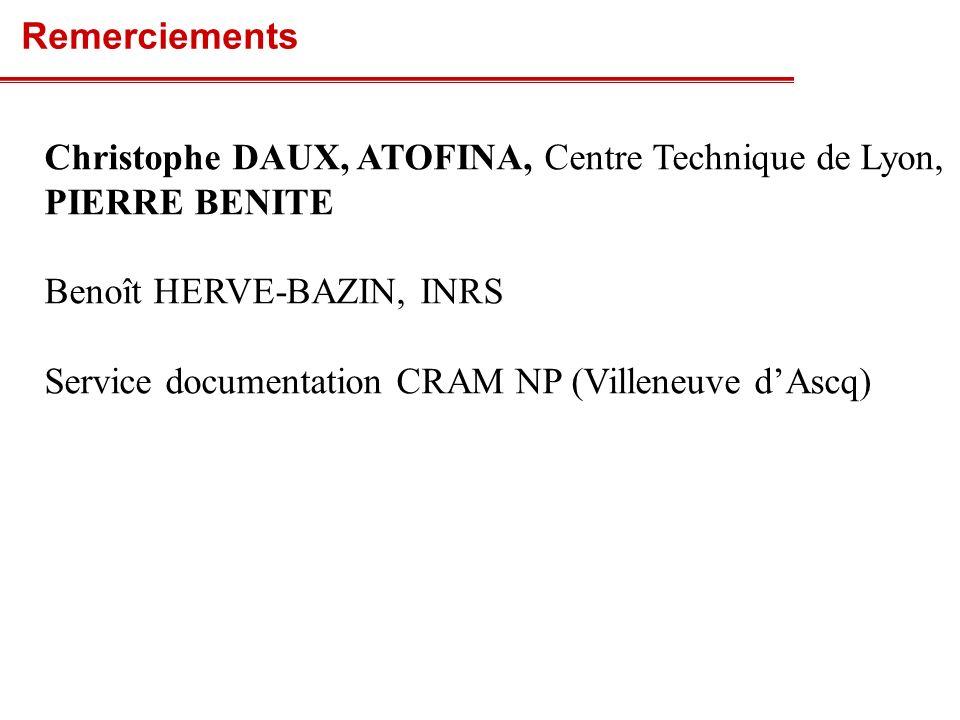 Remerciements Christophe DAUX, ATOFINA, Centre Technique de Lyon, PIERRE BENITE. Benoît HERVE-BAZIN, INRS.