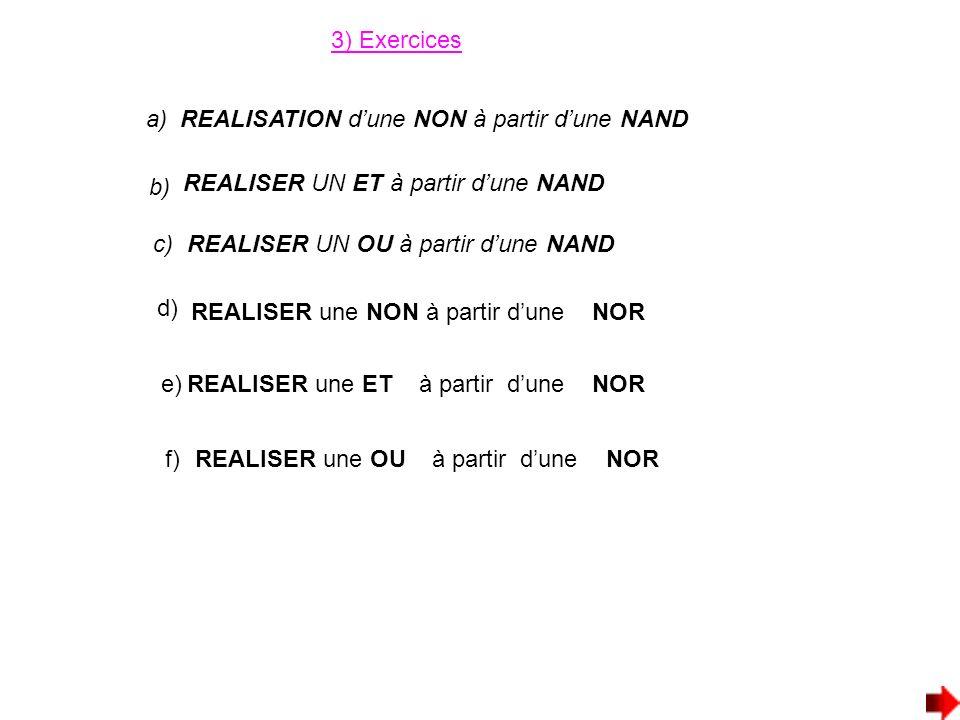 3) Exercices a) REALISATION d'une NON à partir d'une NAND. b) REALISER UN ET à partir d'une NAND.