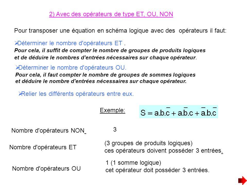 2) Avec des opérateurs de type ET, OU, NON